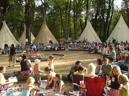 Gathering for the love of herbs-- Everyone slept in the tipi's shown here or their own tents